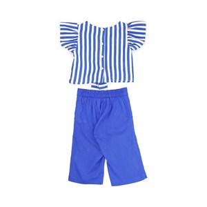 Conjunto Feminino Infantil / Kids Blusa Em Crepe Estampado + Calça Em Linho De Viscose Com Lycra - U Azul Jeans