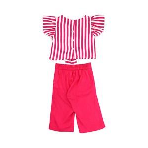 Conjunto Feminino Infantil / Kids Blusa Em Crepe Estampado + Calça Em Linho De Viscose Com Lycra - U Pink