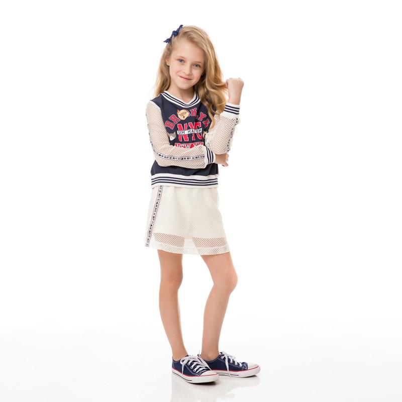 Conjunto Feminino Infantil / Kids Blusa Em Crepe Sarjado Alfaiataria Com Estampa Frontal + Short Sai Cru