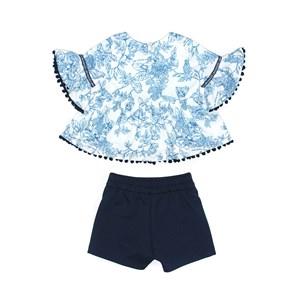 Conjunto Feminino Infantil / Kids Blusa Em Malha Creponada Com Elastano Estampada + Short Em Neopren Marinho