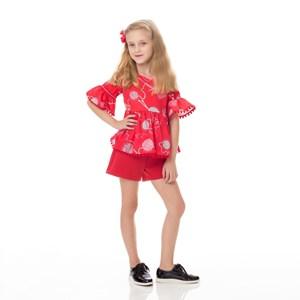 Conjunto Feminino Infantil / Kids Blusa Em Malha Creponada Com Elastano Estampada + Short Em Neopren Vermelho