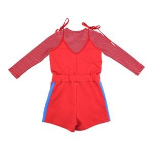 Conjunto Feminino Infantil / Kids Blusa Em  Malha Listrada +  Macaquinho Em Moletinho Com Lycra - Um Vermelho