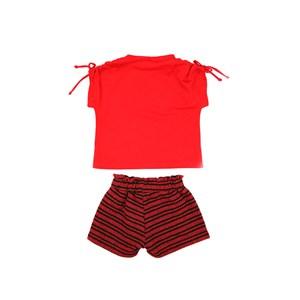 Conjunto Feminino Infantil / Kids Blusa Em Malha Penteada Com Patch Cool + Short Em Moletom Sem Felp