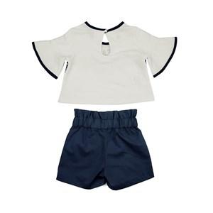 Conjunto Feminino Infantil / Kids Blusa Em Moletinho Com Lycra Com Estampa Frontal + Short- Saia Em Marinho