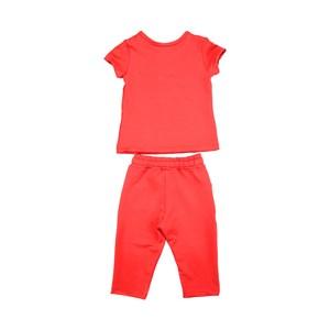 Conjunto Feminino Infantil / Kids Blusa Em Moletinho De Poliester Com Lycra + Couro Sintetico - Beab Vermelho