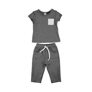 Conjunto Feminino Infantil / Kids Blusa Em Moletinho De Poliester Com Lycra + Couro Sintetico - Beab Mescla Escuro