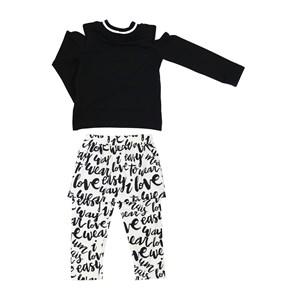 Conjunto Feminino Infantil / Kids  Blusa Em Moletinho De Viscose Com Lycra E Patch Easy + Calça - Sa Cru