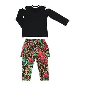 Conjunto Feminino Infantil / Kids  Blusa Em Moletinho De Viscose Com Lycra E Patch Easy + Calça - Sa Onca