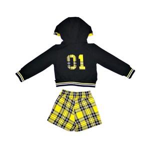 Conjunto Feminino Infantil / Kids Blusa Em Moletinho De Viscose Com Lycra E Patch Nas Costas + Short Amarelo Canario