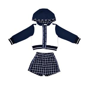 Conjunto Feminino Infantil / Kids Blusa Em Moletinho De Viscose Com Lycra E Patch Nas Costas + Short Marinho