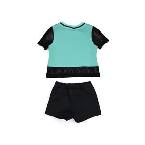 Conjunto Feminino Infantil / Kids Blusa Em Neoprene Com Malha Telada Com Estampa Frontal  + Short Em Preto