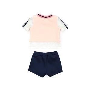 Conjunto Feminino Infantil / Kids Blusa Em Neoprene Com Malha Telada Com Estampa Frontal  + Short Em Marinho