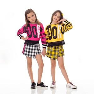 Conjunto Feminino Infantil / Kids Blusa Em Sarja Alfaiataria Com Lycra E Estampa Frontal Com Barra E Pink