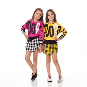 Conjunto Feminino Infantil / Kids Blusa Em Sarja Alfaiataria Com Lycra E Estampa Frontal Com Barra E Amarelo Canario