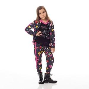 Conjunto Feminino Infantil / Kids Blusa Em Tela Grande Com Lycra Com Patch + Calça Em Moletinho Com Marinho