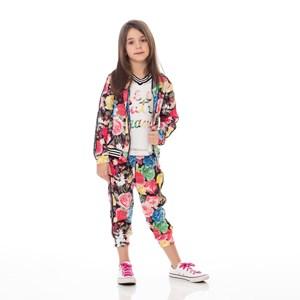 Conjunto Feminino Infantil / Kids Blusa Em Tela Grande Com Lycra Com Patch + Calça Em Moletinho Com Preto