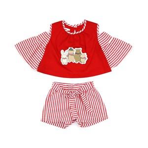 Conjunto Feminino Infantil / Kids Blusa Em Tricoline Galles Com Patch + Short Tricoline Listrada - U Vermelho