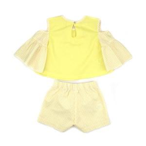 Conjunto Feminino Infantil / Kids Blusa Em Tricoline Galles Com Patch + Short Tricoline Listrada - U Amarelo Canario