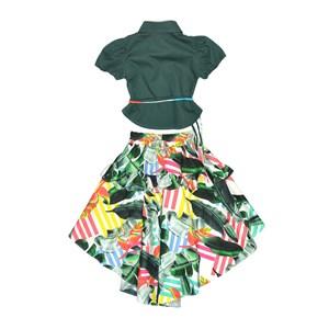 Conjunto Feminino Infantil / Kids Blusa Em Tricoline Galles + Saia Em Tricoline Galles Estampada - U Verde