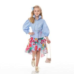 Conjunto Feminino Infantil / Kids Blusa Em Tricoline Galles + Saia Em Tricoline Galles Estampada - U