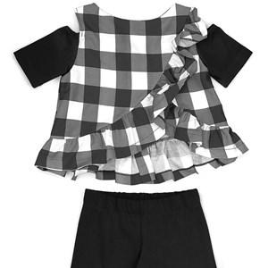 Conjunto Feminino Infantil / Kids Blusa Em Tricoline Galles Xadrez + Calça Em Cotton Alquimia - Um M
