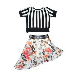 Conjunto Feminino Infantil / Kids Blusa Em Tricot + Voal De Poliester Estampado - Um Mais Um Preto