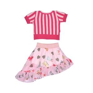 Conjunto Feminino Infantil / Kids Blusa Em Tricot + Voal De Poliester Estampado - Um Mais Um Rosa Claro