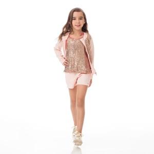 Conjunto Feminino Infantil / Kids Blusa Em Tule Com Paete Frontal E Costa Em Neoprene + Short Em Neo Nude
