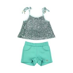 Conjunto Feminino Infantil / Kids Blusa Em Tule Com Paete Frontal E Costa Em Neoprene + Short Em Neo Verde