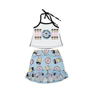Conjunto Feminino Infantil / Kids  Blusa + Saia Em Crepe De Chine E Viscolycra - Um Mais Um Azul Claro