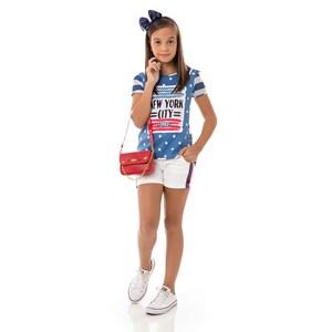 Conjunto Feminino Infantil / Kids Blusa + Short Em Malha Telada E Sarja Alfaiataria - Um Mais Um Azu
