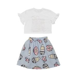 Conjunto Feminino Infantil / Kids Blusa + Short-Saia Em Crepe Liso - Um Mais Um Azul Claro
