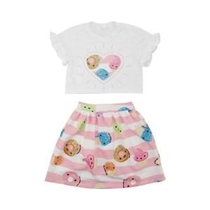 Conjunto Feminino Infantil / Kids Blusa + Short-Saia Em Crepe Liso - Um Mais Um Rosa Claro