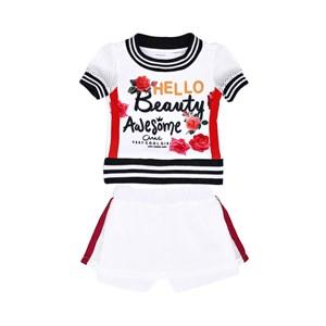Conjunto Feminino Infantil / Kids Blusa + Short-Saia Em Crepe Sarja Com Tela Lisa - Um Mais Um Cru