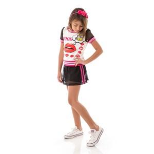 Conjunto Feminino Infantil / Kids Blusa + Short-Saia Em Crepe Sarja Com Tela Lisa - Um Mais Um Preto