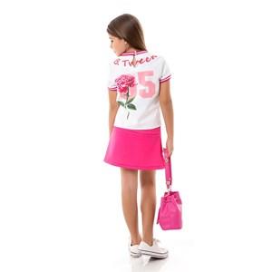 Conjunto Feminino Infantil / Kids Blusa + Short-Saia Em Neoprene Importado E Cotton  - Um Mais Um Pink