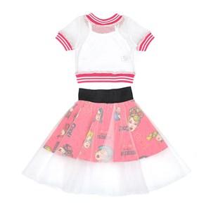 Conjunto Feminino Infantil / Kids Em Blusa Em Malha Telada Com Patch Cool + Saia Em Tricoline Estamp Pink