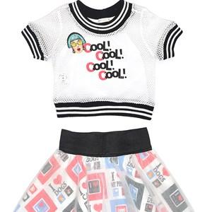 Conjunto Feminino Infantil / Kids Em Blusa Em Malha Telada Com Patch Cool + Saia Em Tricoline Estamp Cru