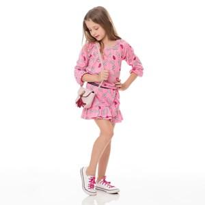 Conjunto Feminino Infantil / Kids Em Malha De Poliester Com Lycra Estampado - Um Mais Um Rosa Claro