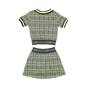 Conjunto Feminino Infantil / Kids Em Xadrez Com Patch Fashion - Um Mais Um Verde Fluor