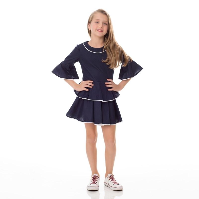 Conjunto Feminino Infantil / Kids Tricoline Galles - Um Mais Um Marinho
