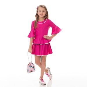 Conjunto Feminino Infantil / Kids Tricoline Galles - Um Mais Um Pink