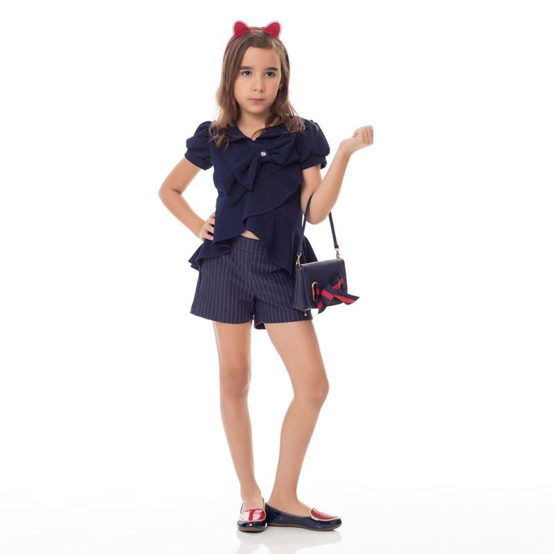 Conjunto Feminino Infantil /Kids Tunica Em Malha Creponada + Short Montaria Gorgura Com Listras - Um Marinho