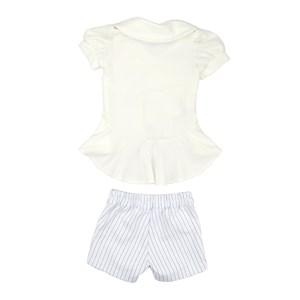 Conjunto Feminino Infantil /Kids Tunica Em Malha Creponada + Short Montaria Gorgura Com Listras - Um Branco