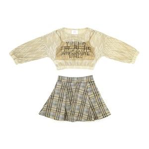 Conjunto Feminino Infantil / Teen Blusa Em Jacquard Furadinho C/Lures+Short Jacquard Xadrez+Top Hela Amarelo Canario