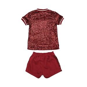 Conjunto Feminino Infantil / Teen Blusa Em Malha Tule Com Paetê + Short Em Neoprene Pele De Elefante Vinho