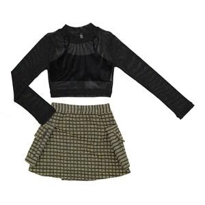 Conjunto Feminino Infantil / Teen Blusa Em Tule C/Lurex+ Saia Malha Tweed Xadres C/Lurex+Top Em Hela Amarelo Canario