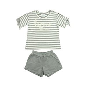 Conjunto Feminino Infantil / Teen Blusa + Short Em Moletinho Viscose E Viscolycra - Twoin Mescla Claro
