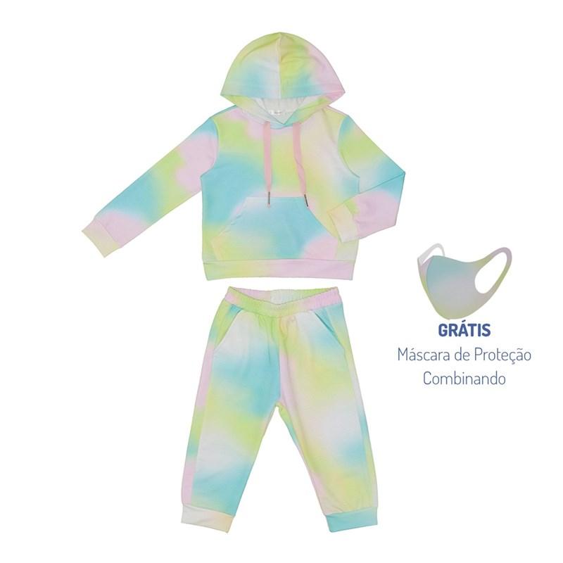 Conjunto Infantil Abrigo + Máscara De Proteção Tye Dye Amarelo Canario
