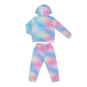 Conjunto Infantil Abrigo + Máscara De Proteção Tye Dye Azul Claro